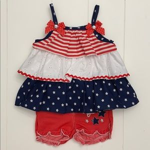 Red White and Blue Shorts Set